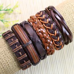 Wholesale Trendy Bracelets For Men - Free shipping trendy bangels Wholesale (6pcs lot)Brwon ethnic tribal genuine adjustable leather bracelet for men - D74