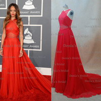 Wholesale V Neck Split - Cheap Red Sheer Evening Dresses Inspired by Rihanna Dress 55th Grammy Awards Red Carpet Celebrity Dresses Crisscross Back Real Image DHYZ