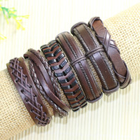 Wholesale tribal bracelets men - Free shipping wholesale (6pcs lot) classic brown braid bangles ethnic tribal genuine adjustable leather bracelet for men - D96