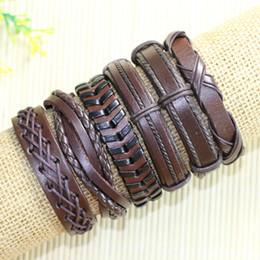 Wholesale Man Classic Bracelets Brown - Free shipping wholesale (6pcs lot) classic brown braid bangles ethnic tribal genuine adjustable leather bracelet for men - D96