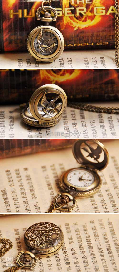 Hunger jeu montres anciennes poche femmes montres de poche pendentifs de montre de mode Collier pendentif de mode