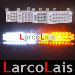Luces de emergencia de emergencia online-Amber White 4x22 LED Fire Flashing Strobe Kit de luces de emergencia para automóvil DLCL863