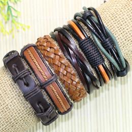 Wholesale Mens Tribal - Free shipping pulsera bracciali uomo Wholesale (6pcs lot) ethnic tribal genuine adjustable Fashion wrap mens leather bracelet jewelry -L51