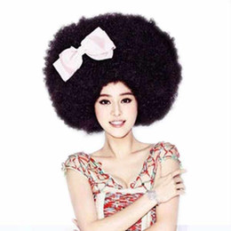 Wholesale Fans Asian - New Party Afro Clown Child Adult Costume Football Fan Wig Hair Halloween Wigs Or Football Fan Fun #90126