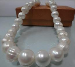 """Wholesale Yellow White Gold Necklace - New Fine Genuine Pearl Jewelry HUGE 20""""10-11MM NATURL SOUTH SEA GENUINE WHITE BAROQUE PEARL NECKLACE 14K"""
