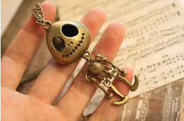 Wholesale Skull Sweater Necklace - Bronze 20PCS Jack Skellington The Nightmare Before Christmas Skull Xmas Gifts Sweater Necklaces Leather Pendant Necklace Coat Chain