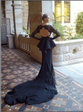 Long Train Backless Mermaid Evening Dresses Black Chiffon Long Sleeves Scoop Floor Length Sheer See Through Prom Dress Designer