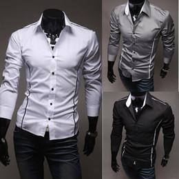 Wholesale Stylish Dresses For Men - New Hot Men Designer Dress Shirt Fashion Men Long Sleeve Slim Stylish Casual Luxury Shirts For Men Clothing M6