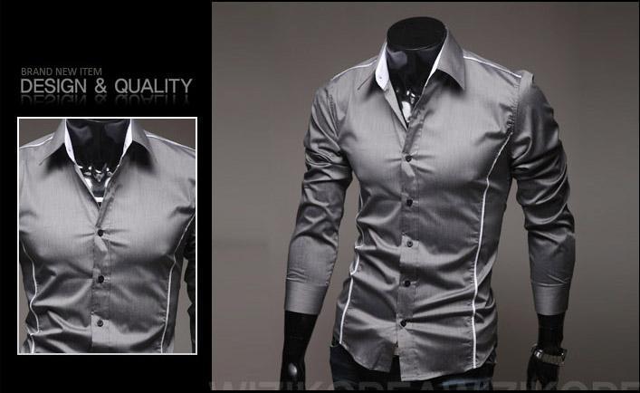 Nya heta män klänning skjorta mode män långärmad smal snygga casual shirts för män kläder m6