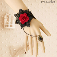 Wholesale Gothic Ring Wedding Set - WS-42*1 Fashion Handwork Punk Gothic Vampire Red Rose Lace Bracelet Cuff Wristband Chain Finger Ring Jewelry Set For Wedding Party