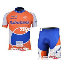 Wholesale Rabobank Pants - Free shipping+Polyester+Coolmax+2010 orange Rabobank short Sleeve Cycling Jerseys and Pants Set Cycling Wear Cycling Clothing