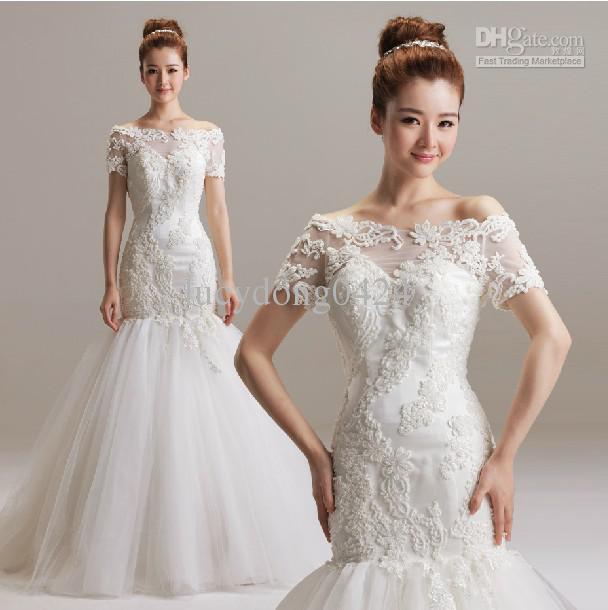 Neue schöne Brautkleider Bateau für Hochzeit Braut Sexy High Quality Backless Hofzug Stickerei und Perlen Meerjungfrau Brautkleider