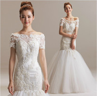 Wholesale New Sexy Bride High Quality - New 2014 Beautiful Bridal Dresses Bateau for Wedding Bride Sexy High Quality Backless Court Train Embroidery and Beads Mermaid Wedding Gowns