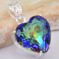 Wholesale Floating Body - Christmas Day Trinket Decorate Body Jewelry Natural Heart Mystic Topaz Floating Pendant CP0733