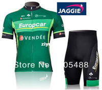 Wholesale Europcar Sleeve - Free shipping+breathable+Polyester+pad COOLMAX+Europcar VENDEE Cycling wear racing apparel  sportwear short sleeve jersey+shorts
