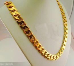 Wholesale Elegant Vintage Necklaces Chain - 10mm*60cm 24k gold plated male gold plated necklace men jewelry alluvial elegant vintage golden chain jewelry