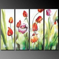 Wholesale Original Handmade Wall Art - Blooming tulip flower wall deco Art handmade abstract oil painting on canvas modern 100% handmade original directly ye02