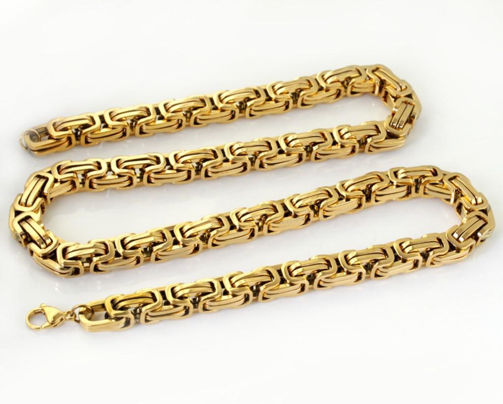 24 inç erkek Kolye 8.5mm bizans zincir 100% Paslanmaz Çelik takı moda 18 k altın kaplama