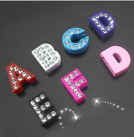 Wholesale Diy Paint Numbers - 260pieces lot Zinc Alloy diy Accessories 8MM rhinestone Painting Slide letters A-Z Slide Charms Fit 8mm Bracelets Wristband Belt pet Collars