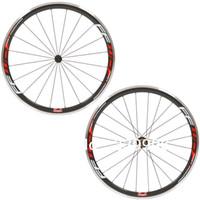 ruedas de bicicleta de fibra de carbono de 38 mm. al por mayor-38MM Rojo Ffwd F4R aluminio de freno rojas remachador de las ruedas de bicicleta de fibra de carbono de carreras de ciclo de ruedas / MATE BRILLANTE