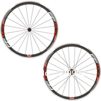Wholesale Aluminum Road Wheelset - 38MM Red Ffwd F4R Aluminum Brake Red Clincher Bicycle Wheels Carbon Fiber Racing Cycling Wheelset GLOSSY MATTE