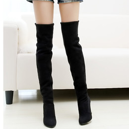 Wholesale Women Black Knee Length Boot - 9 cm Knee-length pointed toe elastic ultra high heels scrub women boots