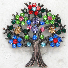 Red Indian Costumes Australia - Wholesale Glisten Clear Crystal Rhinestone Tree Pin Brooch Fashion Costume Brooches jewelry Christmas gifts C900