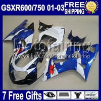 gsx r al por mayor-7gifts + Cowl NEW blue Para SUZUKI K1 01 02 03 GSXR750 GSXR600 R750 -R600 MF2A33 GSXR 600 750 GSX R600 HOT Blue white 2001 2002 2003 Fairing