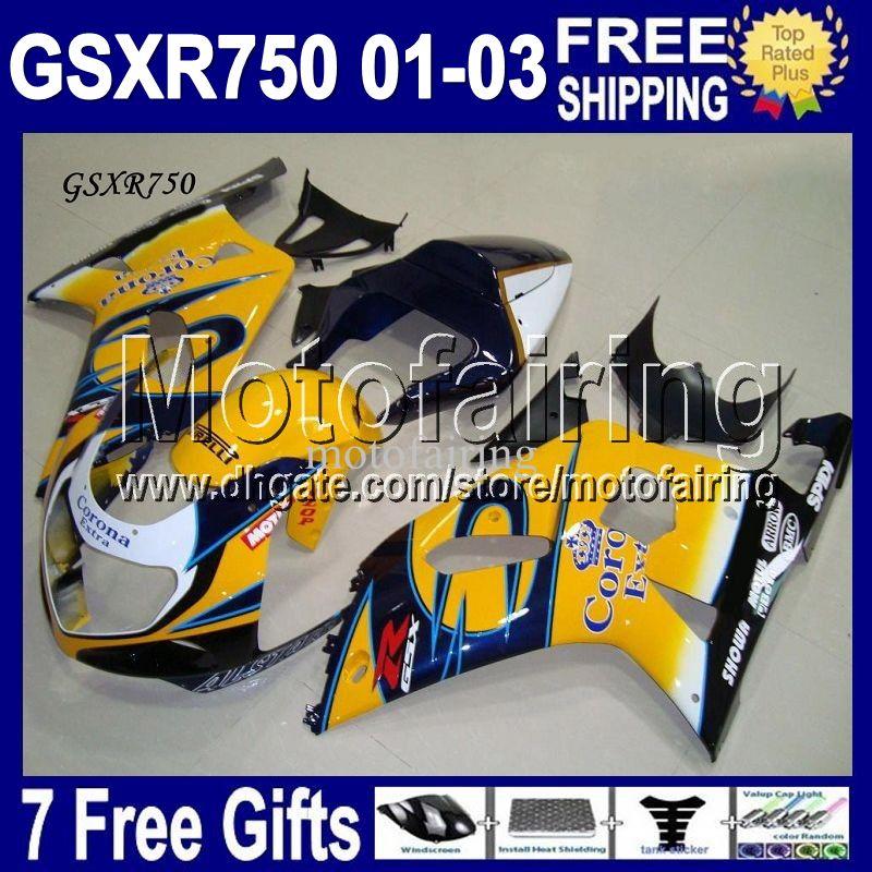 7gifts + Cowl Se adapta a SUZUKI K1 01 02 03 GSX-R750 CORONA GSXR750 Free Custom MF1A27 GSXR 750 GSX R750 2001 HOT yellow blue 2002 2003 Fairing