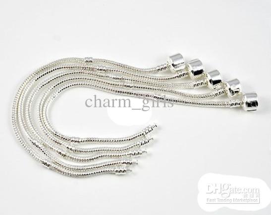 Pulsera de plata 925 Pulsera de cadena de estilo europeo Fit 3mm Pulsera de tamaño mixto 7.0-8.5 pulgadas