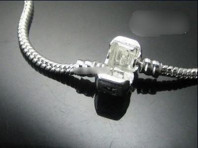 925シルバーブレスレットヨーロッパスタイルビーズフィット3mmスネークチェーンブレスレットミックスサイズ7.0-8.5inch 10ピース
