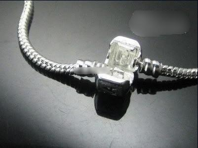925 Silver Armband Europeisk stil Bead Fit 3mm Snake Kedjor Armband Blandad Storlek 7,0-8.5 tum 10st