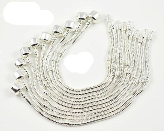 3mm Kärlek Snake Chain Armband Passar Europeiska pärlor 17cm 19cm 20cm och 22 cm mode