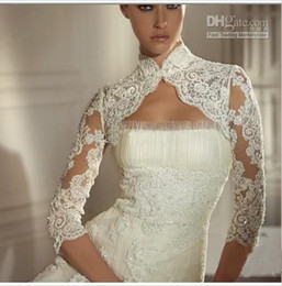 Wholesale Hot Cheap Jackets - Hot New Cheap Lace Beaded Bridal Jackets For Wedding Bridal Accessories 3 4 Sleeve High Neck AA001