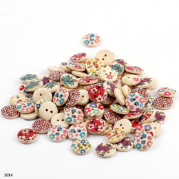 Wholesale Sewing Buttons Beads - ZCR4*50 Fashion 50g Colorful Flower Printed Wooden Buttons Beads Wood Round Fit Clothes Accessories Sewing Or Craft Scrapbooking