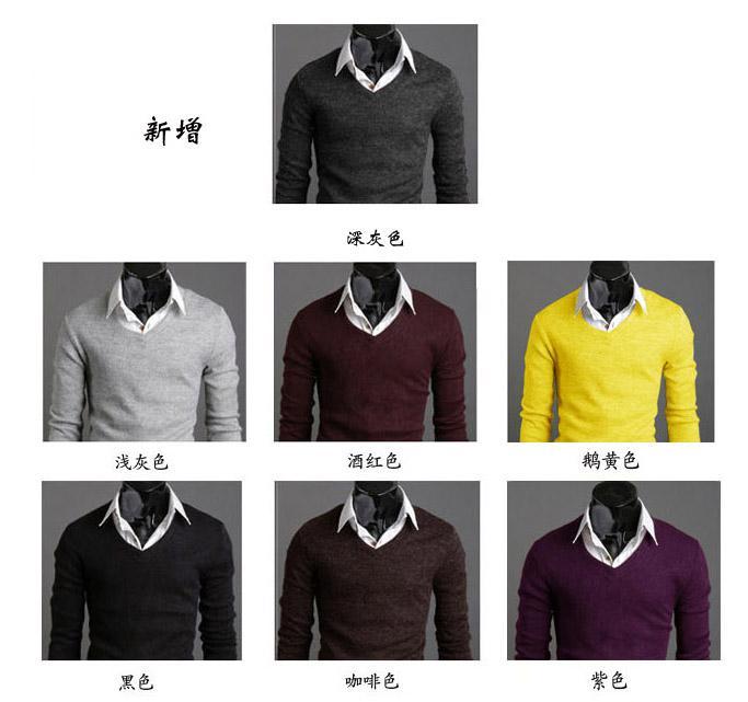 Nuevos Hombres Calientes Suéteres Moda Hombre Suéteres Manga larga Espesar Color sólido Suéteres de los hombres Con cuello en v Prendas de punto de Navidad M10
