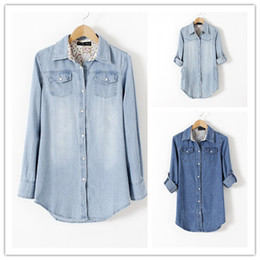 Wholesale Denim Retro Top - Good Quality cotton jeans shirts S M L XL 2XL Blue Pocket Denim Shirts Tops Women Plus Size Fashion Retro Streetwear 2colors WS28