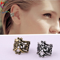 Wholesale Ear Bronze Punk - Wholesale 24pcs Lot fashion U shape hollow out clip earring metal alloy flower ear cuff retro bronze silver PUNK earcuff jewelry