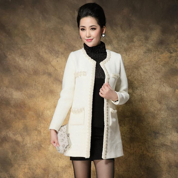 Runway White Tweed Jackets For Women European Fashion Autumn ...