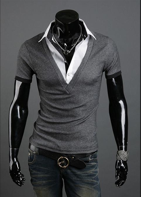 2016 Nya t-tröjor Mode sommar män T-shirt Kortärmad Slim Koreanska Bomull T-shirts Nedgång Krage T-shirts Pullover Män Kläder M16