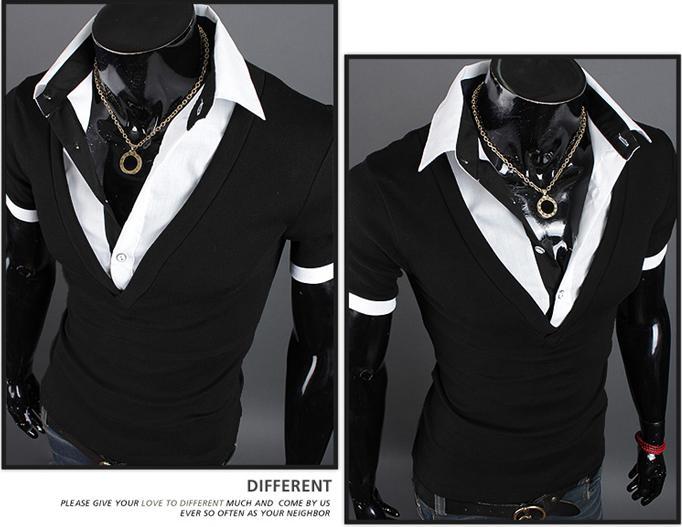 2016 Nuevas Camisetas de Moda de Verano para Hombres Camiseta de Manga Corta de Algodón Coreano Delgado Camisetas con cuello doblado Camisetas PULLOVER Ropa de Hombre M16