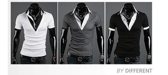 2016新しいTシャツファッション夏の男性Tシャツ半袖スリム韓国のコットンTシャツターンダウンカラーTシャツプルオーバー男性服M16