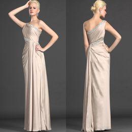 Champagne un hombro rhinestone con cuentas de raso gasa Vestido elegante de la madre de la novia vestido de noche formal desde fabricantes