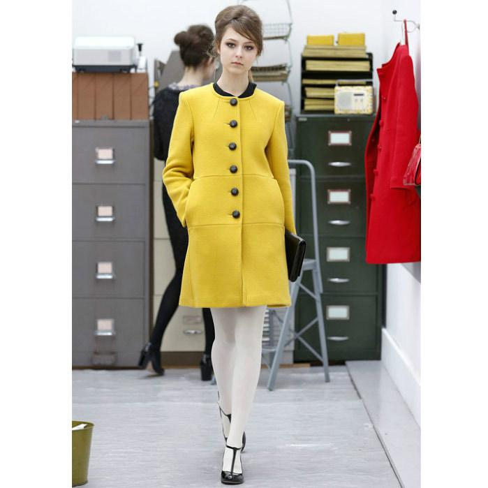 2017 Runway European Fashion Bright Yellow Plus Woman Winter Coat ...