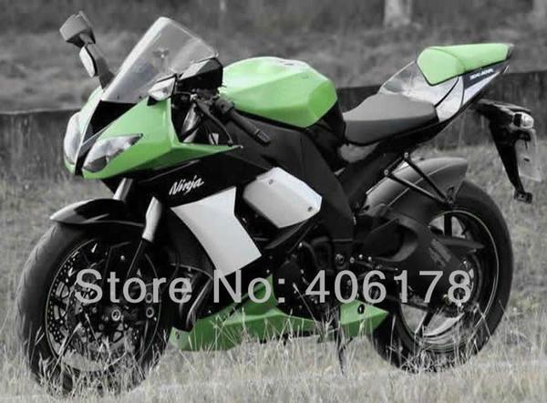 cheap ZX-10R 08 09 ABS Fairing For kawasaki Ninja ZX10R fairing kit 2008 2009 2010 Green & White Motorcycle Fairings