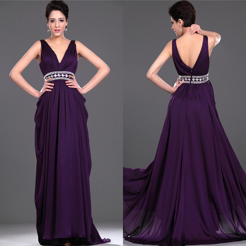 Vestido de noche formal con cuello en V púrpura de alta calidad con cuentas de gasa con cuentas de gasa Vestido de noche formal