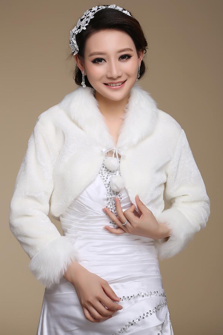 Envío gratis Piel de imitación invierno vestido de novia abrigos para novia bridal bolero bodas de encogimiento de hombros bridal bolero encogimiento de encogimiento de encogimiento de hombros barato