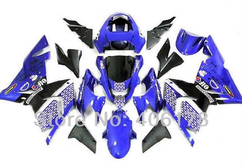 Envío gratis, 04 05 zx10 carenados para Kawasaki Ninja ZX10R kit de carenado 2004 2005 azul ELF Sport motocicleta carenado