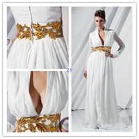Wholesale Custom Embroidered Belts - Chiffon Long Sleeve Deep V-neckProm Evening Gowms Sheath Sweep Train White Evening Dresses With Embroidered Belt