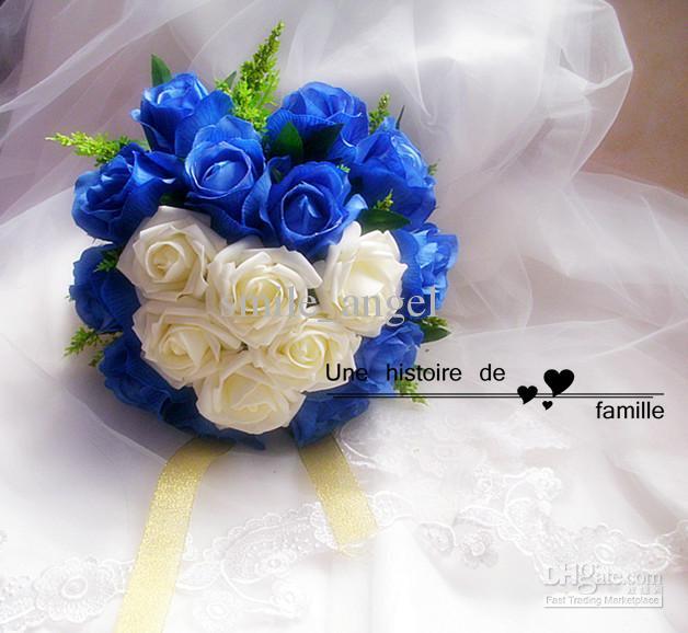 Unique mariage bouquet de mariée bleu rose rose rose fleurs artificielles main 26cm demoiselle d'honneur tenant fleur photos de mariage fleurs vente chaude nouveau